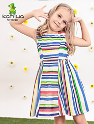 KAMIWA ® Girl's Summer Rainbow Striped Printed Sleeveless Dresses Princess Beach Kids Clothes Children's Clothing
