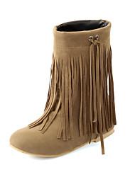 Zapatos de mujer - Tacón Cuña - Botas de Nieve / Punta Redonda - Botas - Casual - Ante Sintético - Negro / Amarillo