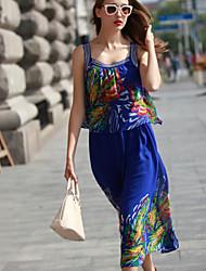 Women's Fashion Printing Sequined Straps Chiffon Dress