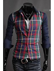 Hot Sell Summer Style 2015 Brand Long-Sleeve Shirt Men Clothes Camisa Masculina