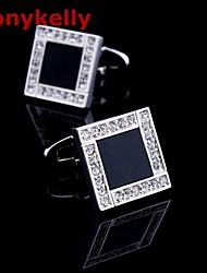 Toonykelly Fashion Silver CZ Zircon Crystal Black Enamel Men Shirt Cufflink Button(1 Pair)