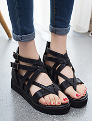 Women's Shoes Faux Leather Wedge Heel Wedges/Open Toe Sandals Casual Black/Gold