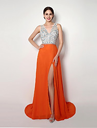 Formal Evening Dress A-line / Sheath / Column Straps Sweep / Brush Train Chiffon with
