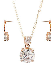 T&C Women's 18k Rose Gold Plated 2 Carat Cubic Zirconia Simulated Diamond Pendant Necklace Earrings Sets