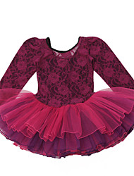 Ballet Dresses Children's Performance Cotton / Spandex Cascading Ruffle / Flower(s) 1 Piece Yellow / Burgundy