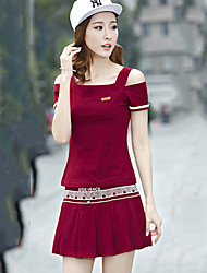 De las mujeres Vestido Casual Mini Mezclas de Algodón