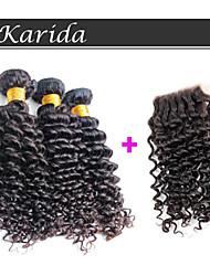 venta caliente del pelo virginal brasileño rizado con cierre, el cierre barato 10-20inch cordón del pelo humano