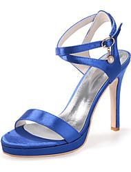 FemininoBico Aberto-Salto Agulha-Preto / Azul / Rosa / Roxo / Vermelho / Marfim / Branco / Prateado / Champagne-Seda-Casamento / Festas &