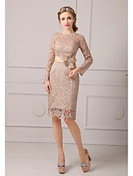 Sheath / Column Petite Mother of the Bride Dress - Floral Knee-length Long Sleeve Lace with Lace Sash / Ribbon