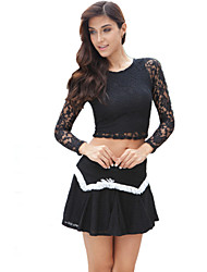 Women's Sexy Lace Cute Plus Sizes Inelastic Long Sleeve Short (Lace)