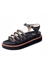 Women's Shoes Faux Leather Flat Heel Creepers Sandals Casual Black/Gold