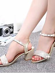 Pumps/Heels ( Caucho , Dorado/Plateado Tacón bajo para Zapatos de mujer