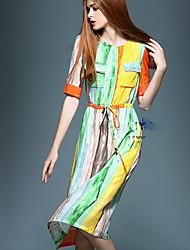 Women's Vintage Plus Sizes Micro Elastic Short Sleeve Knee-length Dress (Silk)