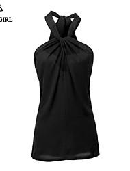 LIVAGIRL®Women's T-shirt Fashion Sexy Sleeveless Halterneck Chiffon Vest Korean Style Summer Casual Top Shirt