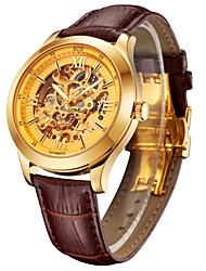 BOS мужская механическая световой указатель скелет золотой цвет посмотреть коричневые полосы
