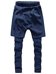 Pantalon de Sport Pour des hommes Couleur plaine Décontracté / Sport Coton / Polyester Noir / Bleu