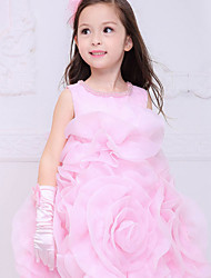 "Girl's Summer/Spring/Fall Micro-elastic Sheer/Medium Sleeveless Dresses (Cotton/Mesh/Polyester) ""BIG FLOWER"""