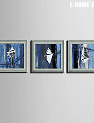 Abstract Framed Canvas / Framed Set Wall Art,PVC Grey No Mat With Frame Wall Art