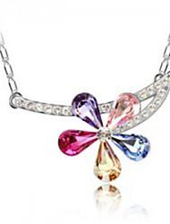 Korean necklace Austrian import ms crystal necklace Five petals female