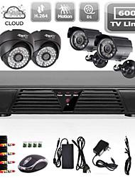 Noche de interior sistema de cámara de visión exterior cctv 4 canales completa d1 detección de movimiento dvr 600tvl