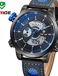 WEIDE Men Fashion Sports Military Army Dual Time Display Black Case Leather Strap Wrist Watch