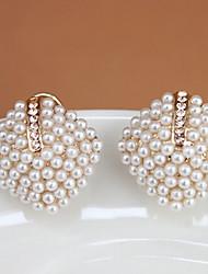 Brincos Curtos Jóias de Luxo Pérola imitação de diamante Liga Forma Geométrica Cor Ecrã Jóias Para 2pçs