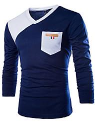 Katoen - Effen - Heren - T-shirt - Informeel - Lange mouw