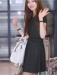 Women's Plus Sizes Inelastic Sleeveless Knee-length Dress (Chiffon)
