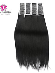 20inch 20pcs Silky Straight Skin Weft Tape In Brazilian Virgin Human Hair Extensions #1 Jet Black