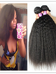 "3Pcs/Lot Virgin Hair Straight Coarse Yaki Human Hair Weaves Italian Yaki 8""-34"" Natural Black Kinky Straight Hair"