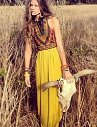 Dominic Women's Print Yellow Dresses , Casual / Print Round Sleeveless