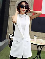 Women's Solid White/Green/Yellow Trench Coat , Casual Sleeveless Chiffon