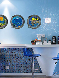 3 Pcs Ocean Fishes Scenery Window PVC Wall Sticker Wall Decals