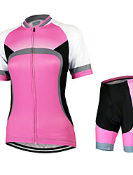 Arsuxeo Cycling Jersey with Shorts Women's Short Sleeve Bike Breathable Quick Dry Anatomic Design Back Pocket YKK ZipperJersey +