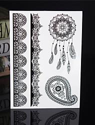 4PCS Tatouage Black Temporary Tattoo Sticker Taty Tatoo Metal Tatoos Fake Tattoo Body Tatto Body Lace Wedding