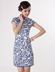 Women's Vintage/Casual Micro-elastic Short Sleeve Above Knee Dress (Satin/Silk/Cotton)