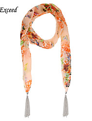 D Exceed  Women Fashion Cheap Scarf Butterfly Floral Printed Chiffon Scarves with Silver Plated Long Tassel Scarfs