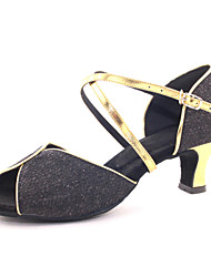 Non Customizable Women's Dance Shoes Latin Leather Chunky Heel Black/Blue/Pink/Purple/Silver/Gold