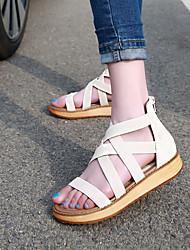Zapatos de mujer - Plataforma - Plataforma / Comfort / Punta Abierta - Sandalias - Casual - Semicuero - Negro / Blanco
