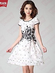 YUEMIAN™Women's Classic Black And White Printing Design Dress Code