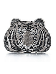 Miss Ricy Women's Tiger-shaped Gun Metal Plating Alloy Rhinestone Evening Bag