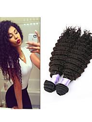 "3pcs / lot 8 ""-34"" extensiones del pelo trama brasileña del pelo del pelo de la onda profunda brasileña profunda onda # 1b 300g"