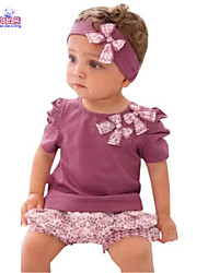 Waboats Summer Kids Baby Girl Bow Short-Sleeved Shirt&Floral Set
