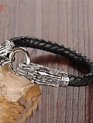 OPK®Domineering Personality Leading Level Stainless Steel Buckles Leather Men's Bracelet