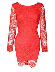 Women's Sexy Bodycon Casual Lace Cute Plus Sizes Inelastic Long Sleeve Above Knee Dress (Chiffon/Lace)