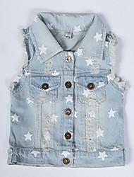 Boy's Summer/Fall Medium Sleeveless Jeans Jackets Denim Vest Outfits Washed Light Blue