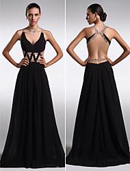 Fiesta formal Vestido - Negro Corte Recto Hasta el Suelo - Escote en V Gasa