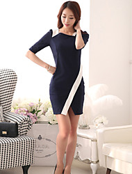 Women's Solid/Patchwork/Color Block Blue Dress , Sexy/Bodycon/Casual Asymmetrical ½ Length Sleeve Split