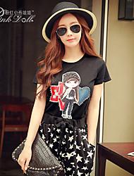 Pink Doll®Women's Casual/Cute Rivet Loose Short Sleeve T-shirt