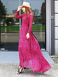 Women's Vintage/Beach/Casual/Cute/Party/Work/Maxi Micro-elastic Long Sleeve Maxi Dress (Chiffon)